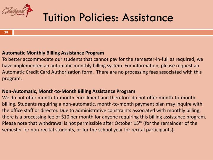 Tuition Policies: Assistance