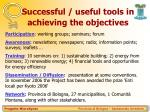 successful useful tools in achieving the objectives