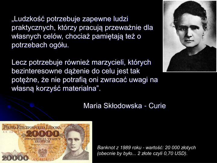 Banknot z 1989 roku - wartość: 20 000 złotych (obecnie by było... 2 złote czyli 0,70 USD).