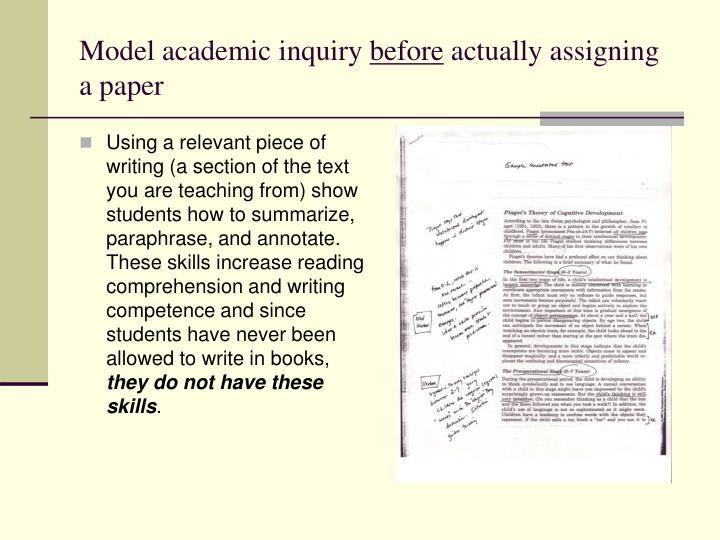Model academic inquiry