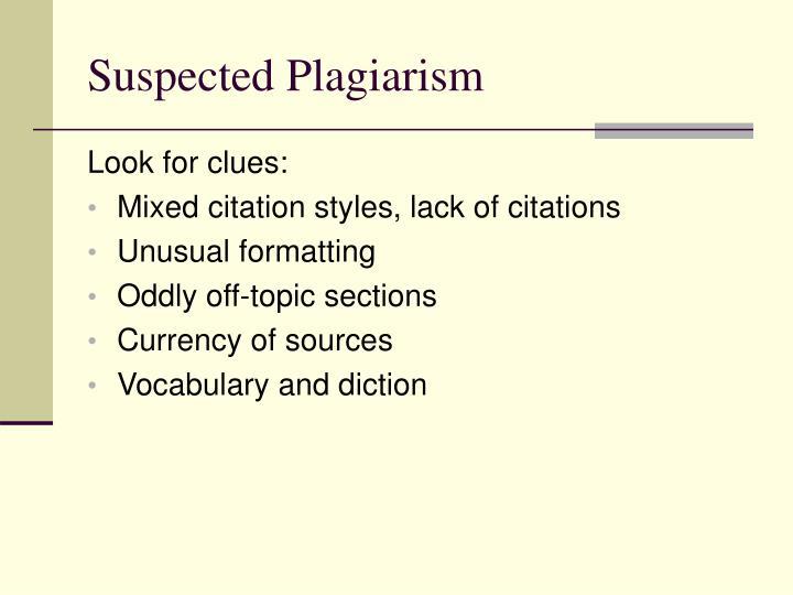 Suspected Plagiarism