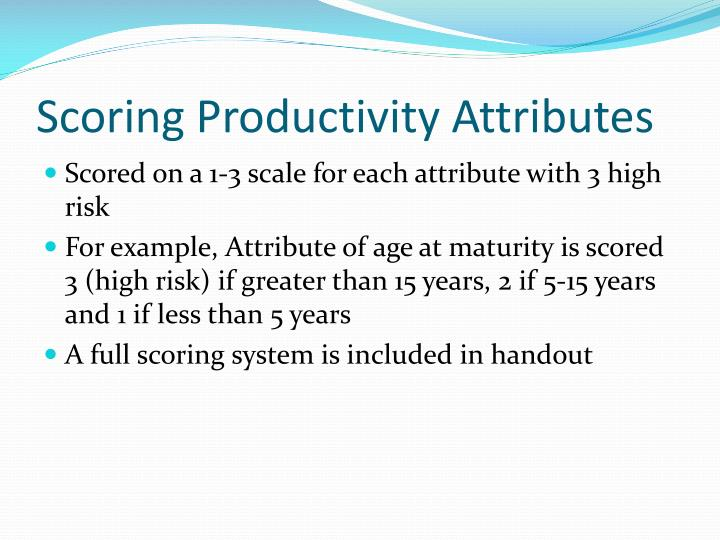 Scoring Productivity Attributes