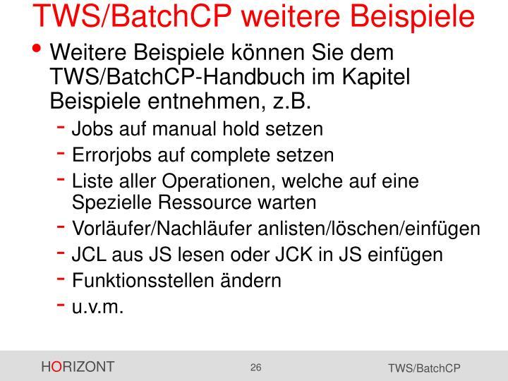 TWS/BatchCP weitere Beispiele