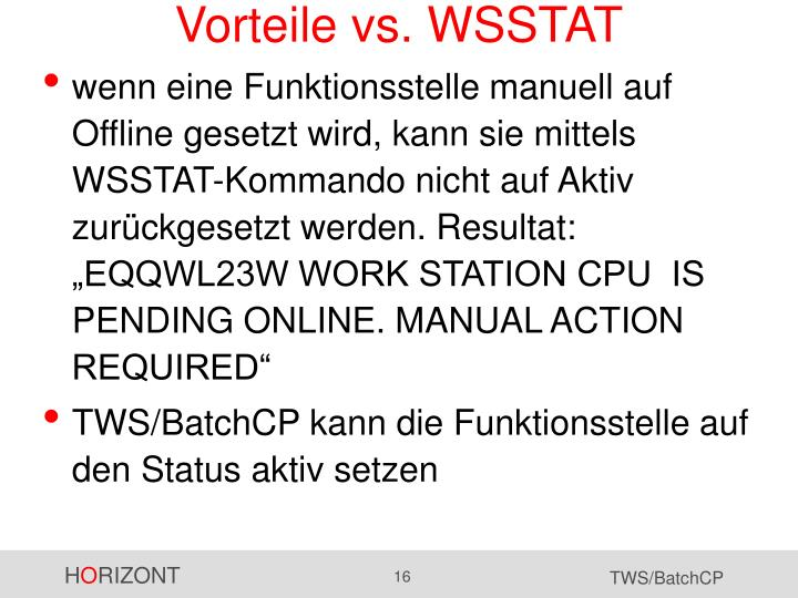 Vorteile vs. WSSTAT