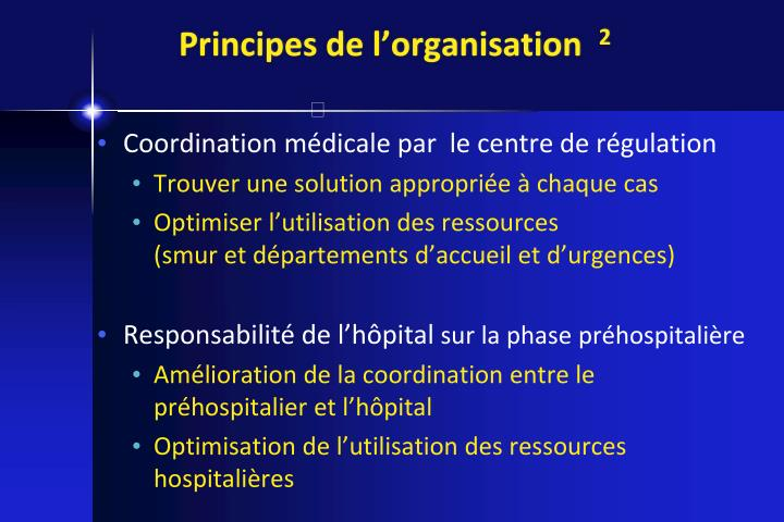 Principes de l'organisation