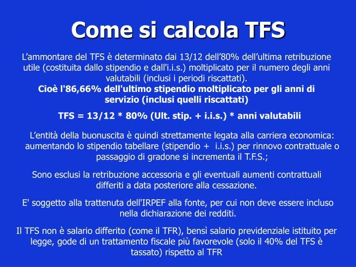 Come si calcola TFS