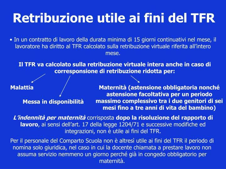 Retribuzione utile ai fini del TFR