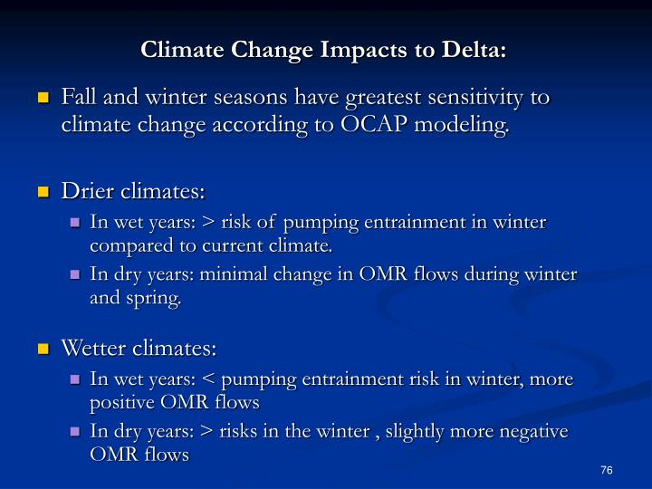 Climate Change Impacts to Delta: