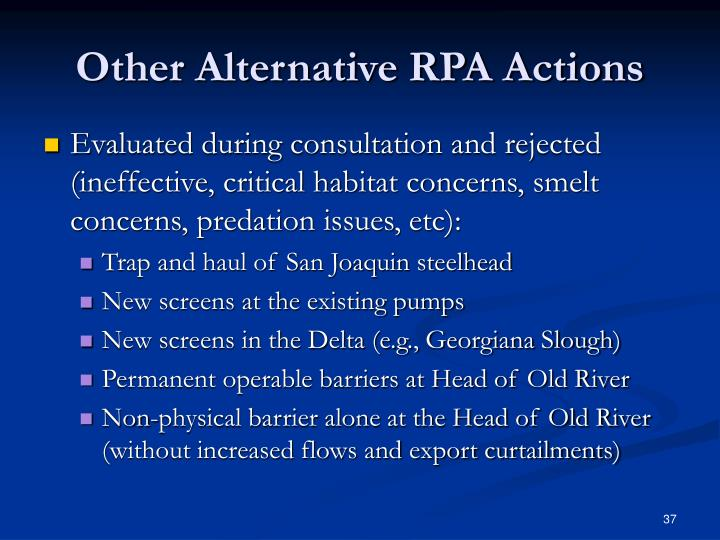Other Alternative RPA Actions