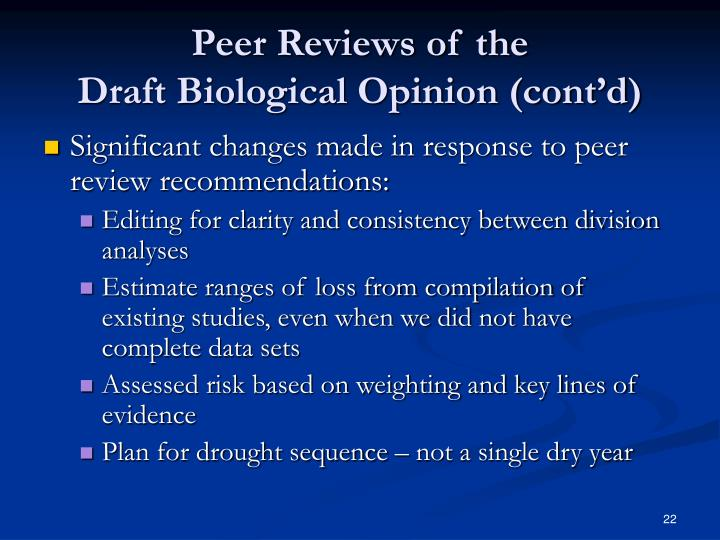 Peer Reviews of the