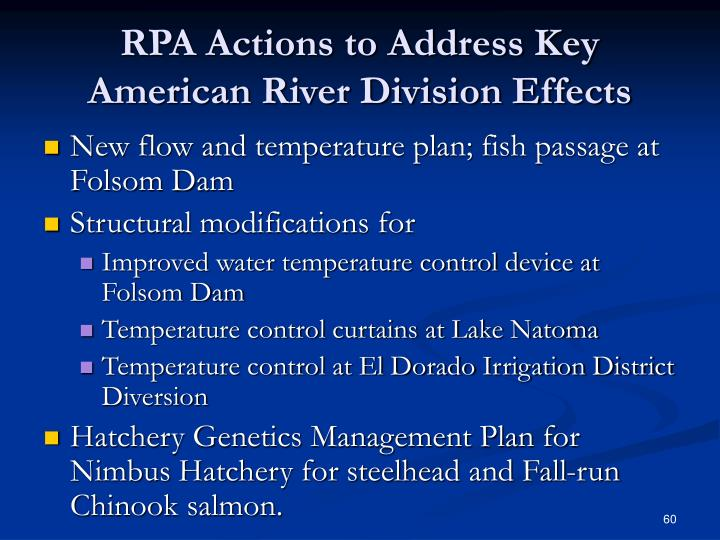 RPA Actions to Address Key American River Division Effects