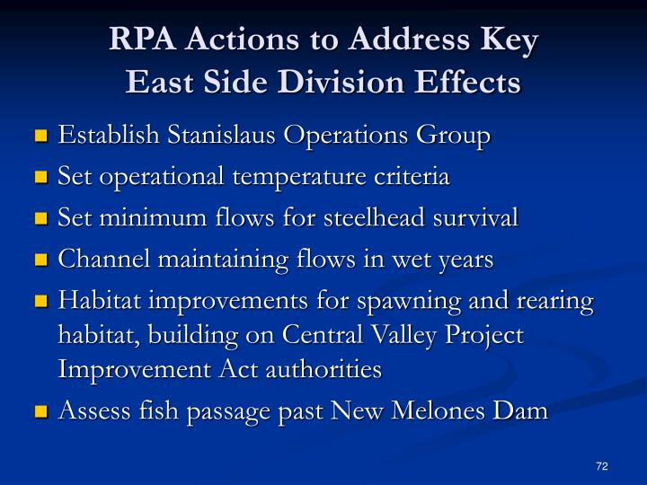 RPA Actions to Address Key