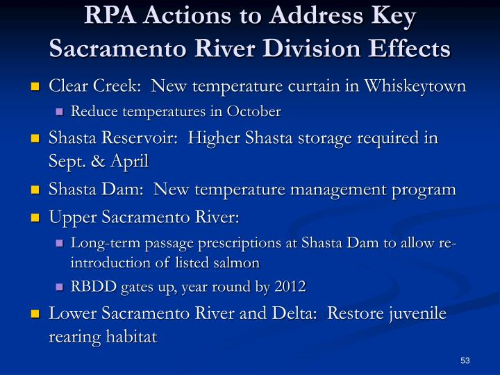RPA Actions to Address Key Sacramento River Division Effects