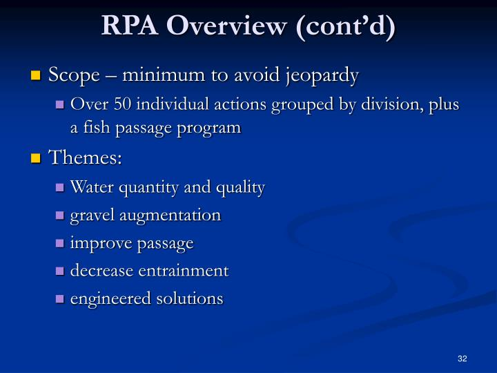RPA Overview (cont'd)