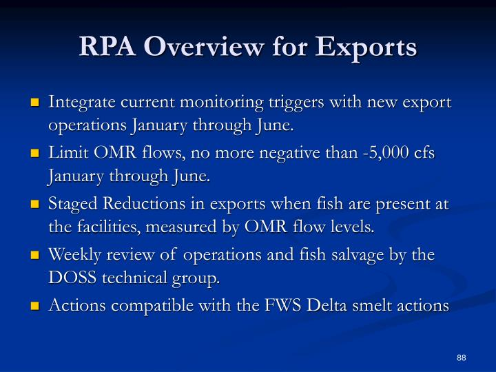 RPA Overview for Exports