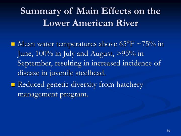 Summary of Main Effects on the Lower American River