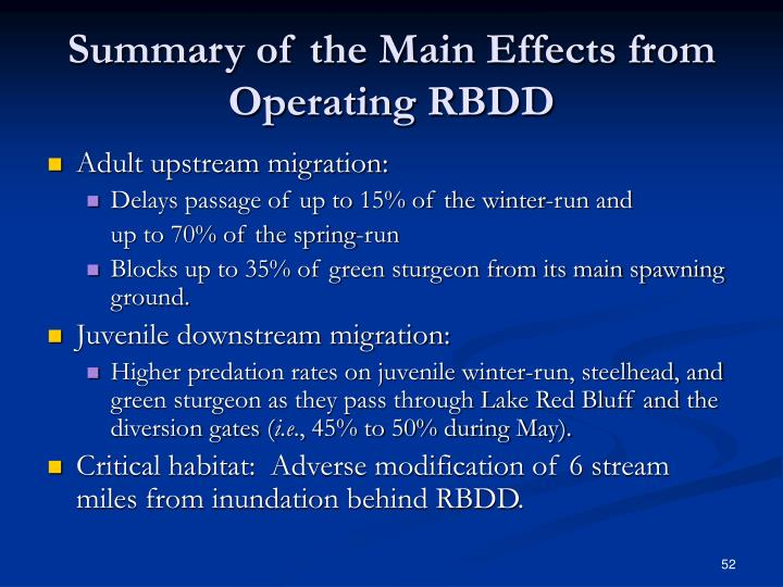 Summary of the Main Effects from Operating RBDD