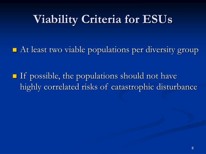 Viability Criteria for ESUs