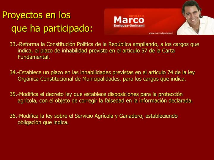 33.-Reforma la Constitución Política de la República ampliando, a los cargos que indica, el plazo de inhabilidad previsto en el artículo 57 de la Carta Fundamental.