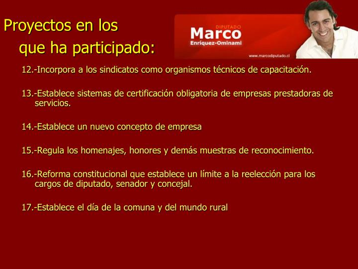 12.-Incorpora a los sindicatos como organismos técnicos de capacitación.