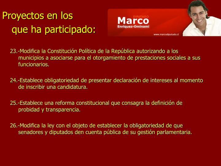 23.-Modifica la Constitución Política de la República autorizando a los municipios a asociarse para el otorgamiento de prestaciones sociales a sus funcionarios.