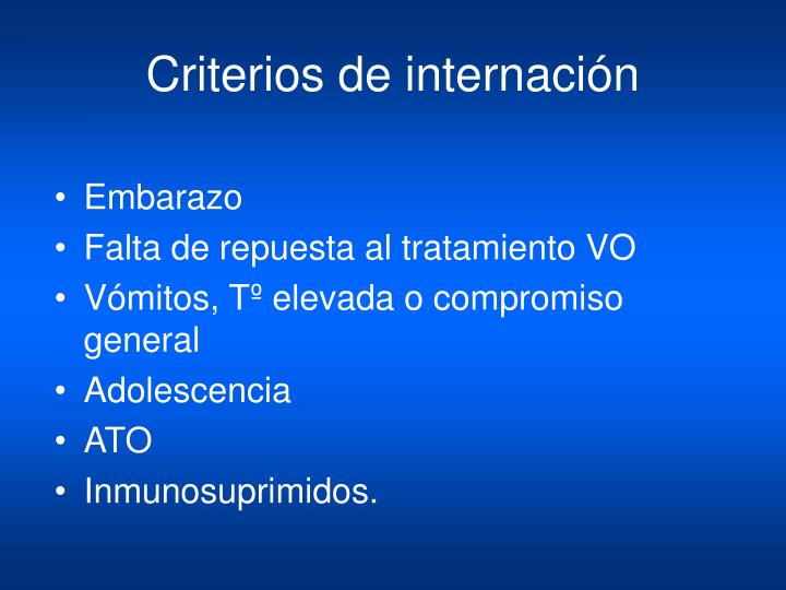Criterios de internación