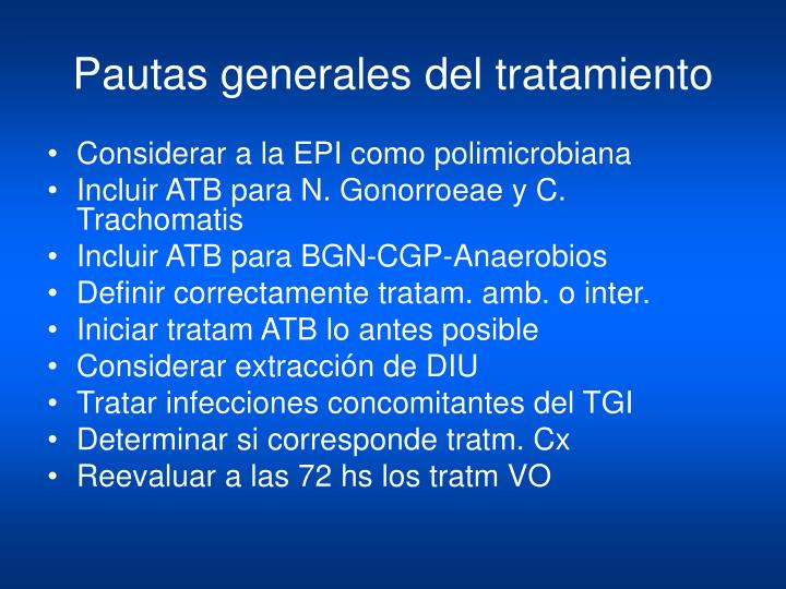 Pautas generales del tratamiento
