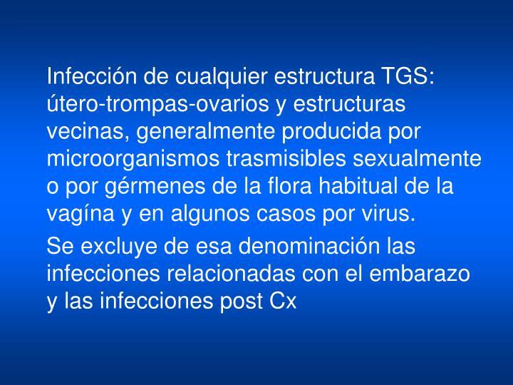 Infección de cualquier estructura TGS: útero-trompas-ovarios y estructuras vecinas, generalmente producida por microorganismos trasmisibles sexualmente o por gérmenes de la flora habitual de la vagína y en algunos casos por virus.