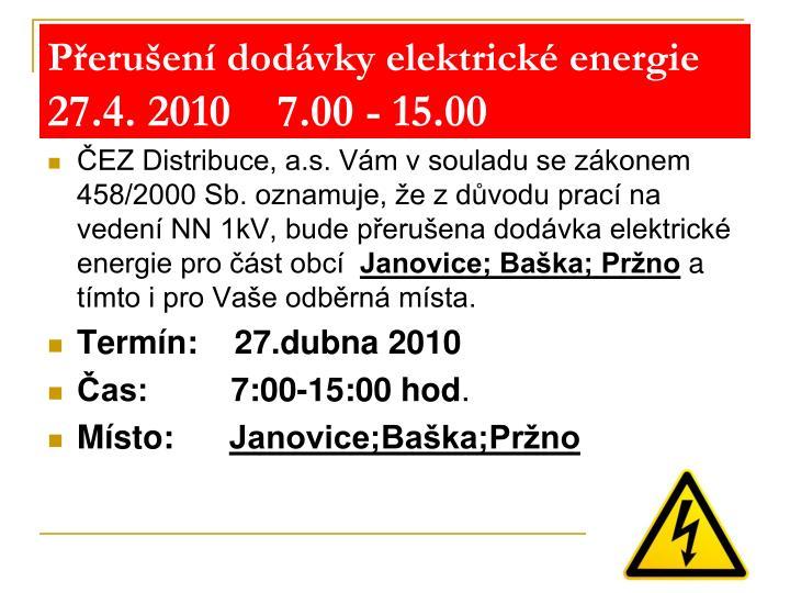 Přerušení dodávky elektrické energie