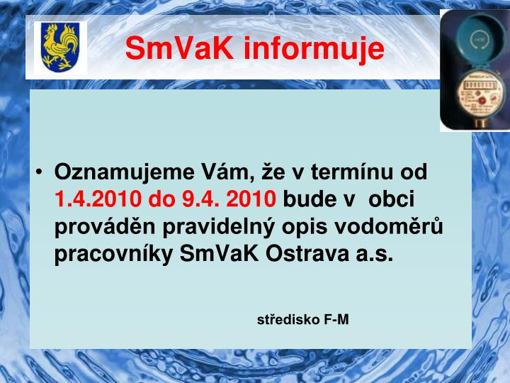 SmVaK informuje