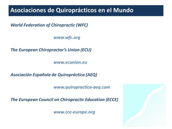 Asociaciones de Quiroprácticos en el Mundo