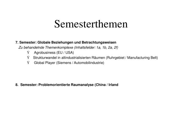 Semesterthemen