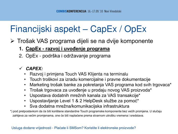 Financijski aspekt – CapEx / OpEx