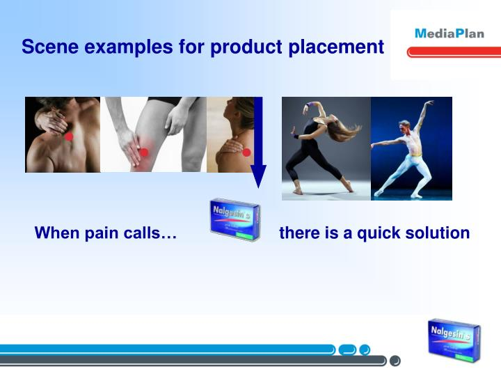 Scene examples for product placement