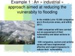 example 1 an industrial approach aimed at reducing the vulnerabity to flooding