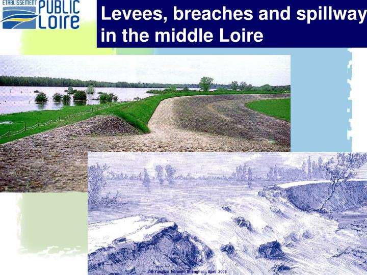 Levees, breaches and spillways in in the middle Loire