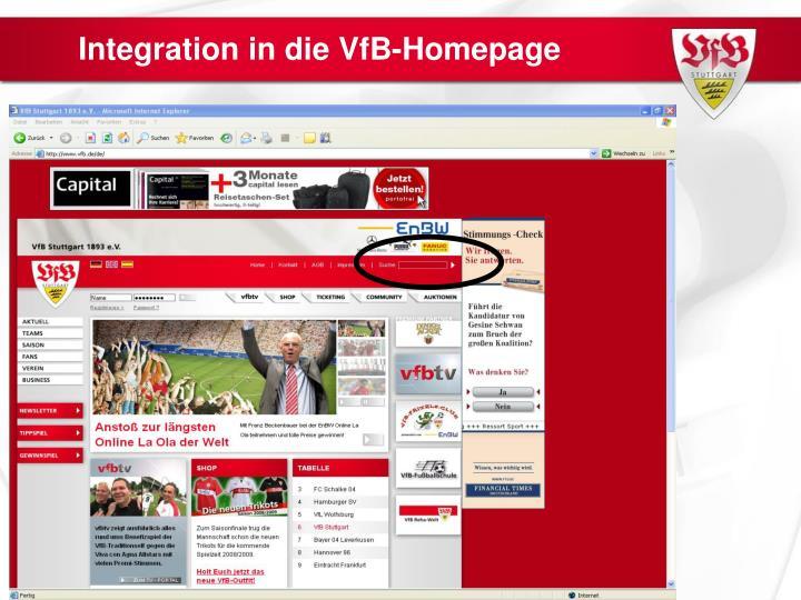 Integration in die VfB-Homepage