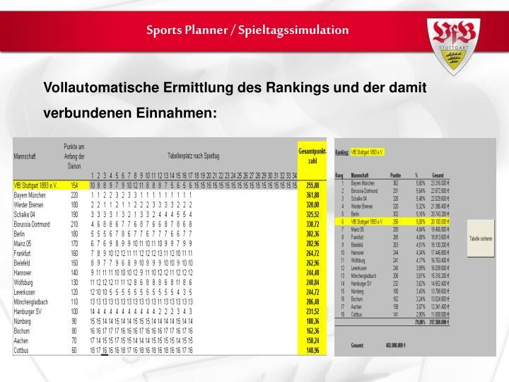 Sports Planner / Spieltagssimulation