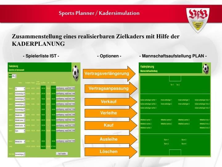 Sports Planner / Kadersimulation