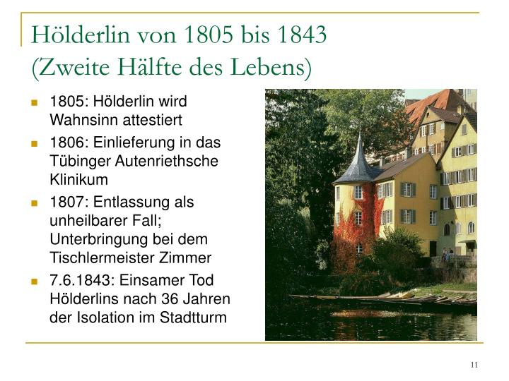 Hölderlin von 1805 bis 1843