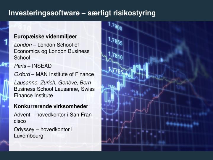 Investeringssoftware – særligt risikostyring