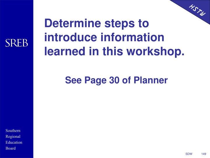 Determine steps to introduce information learned in this workshop.