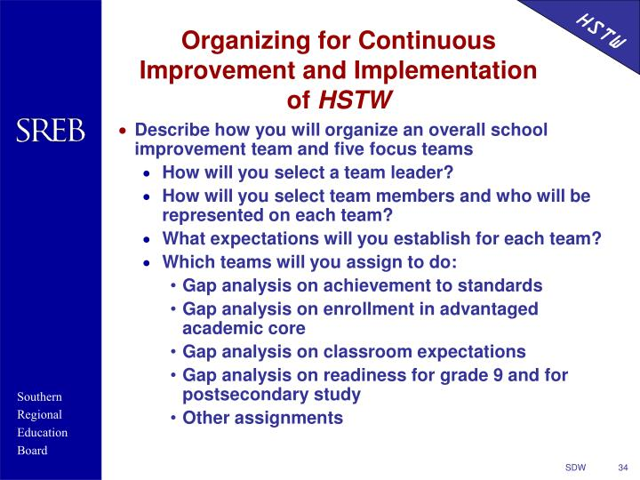 Organizing for Continuous Improvement and Implementation of