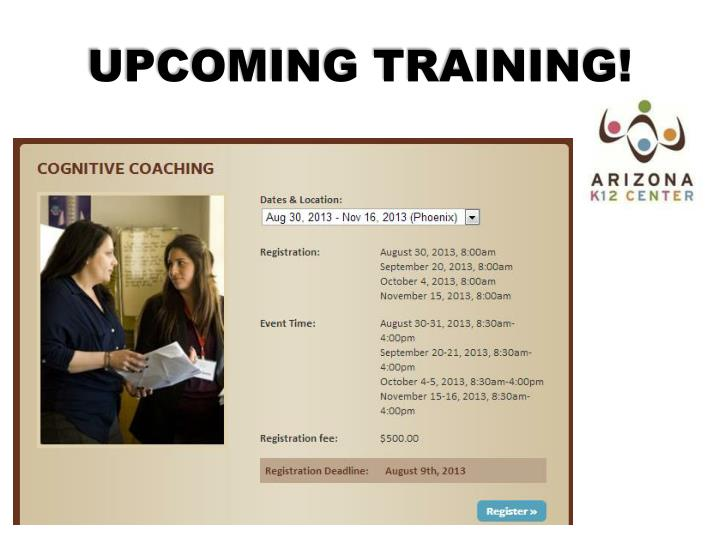 UPCOMING TRAINING!