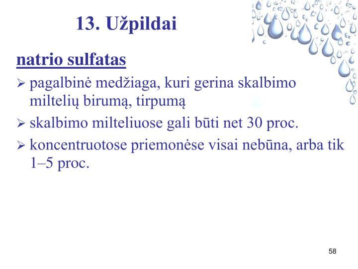 13. Užpildai