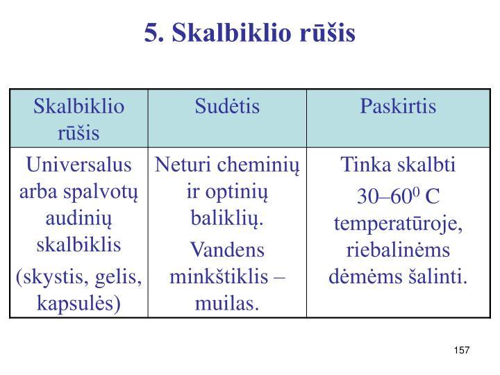 5. Skalbiklio rūšis