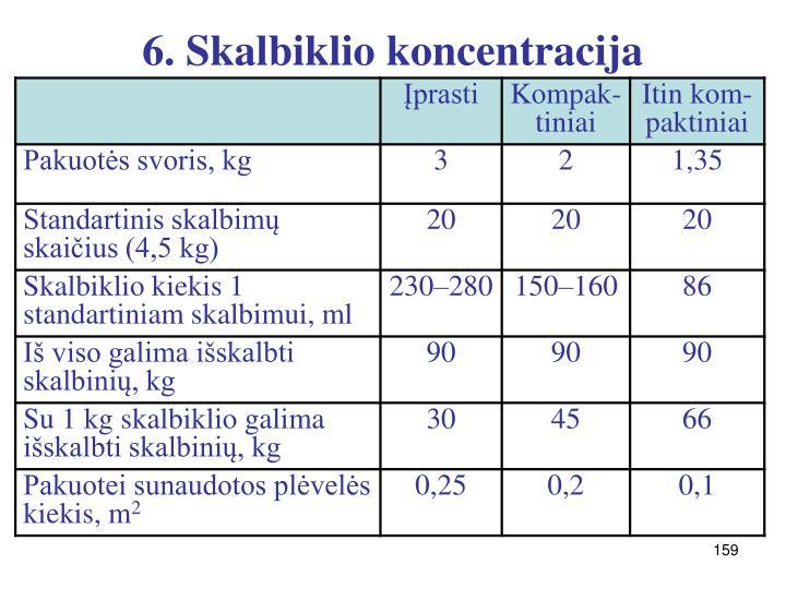 6. Skalbiklio koncentracija