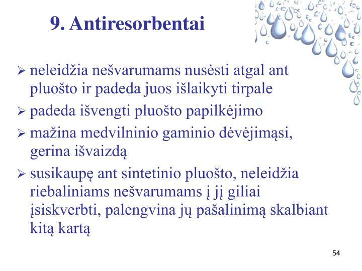 9. Antiresorbentai