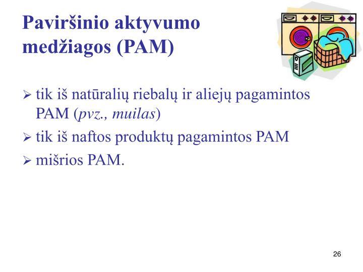 Paviršinio aktyvumo medžiagos (PAM)