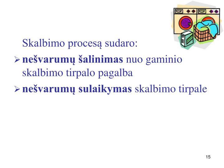 Skalbimo procesą sudaro:
